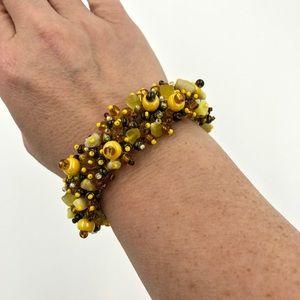 Jewelry - Light brown and yellow handmade bead bracelet